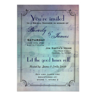 Musical themed bridal shower invitation
