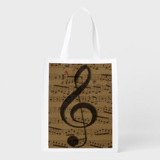 Musical Treble Clef sheet music Reusable Grocery Bag
