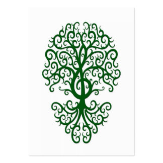 Musical Treble Clef Tree Green on White Pack Of Chubby Business Cards