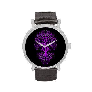 Musical Treble Clef Tree Purple on Black Wrist Watch