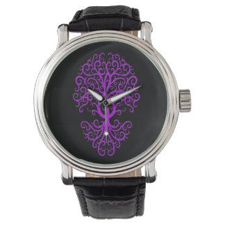 Musical Treble Clef Tree Purple on Black Wristwatches