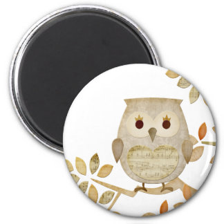 Musical Tree Owl 6 Cm Round Magnet