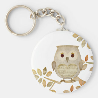 Musical Tree Owl Basic Round Button Key Ring