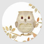 Musical Tree Owl Classic Round Sticker