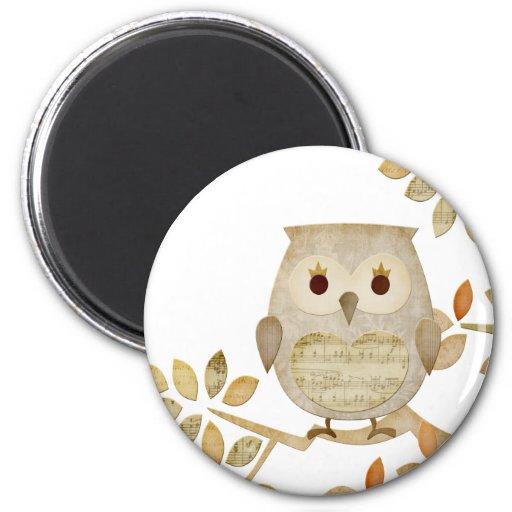 Musical Tree Owl Fridge Magnet