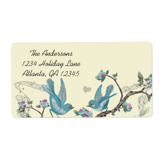 Musical Vintage Aqua Birds Grey Branch Labels