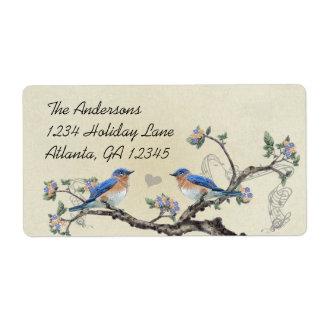 Musical Vintage Bluebirds Heart Labels