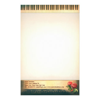 musical vintage piano stationary design stationery