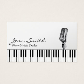 Musical White Piano & Voice Teacher Music Business Card