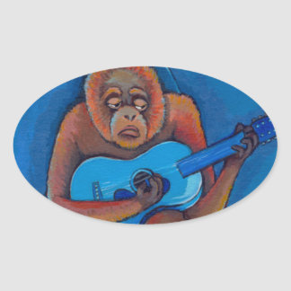 Musician art fun blues guitarist orangutan monkey oval sticker