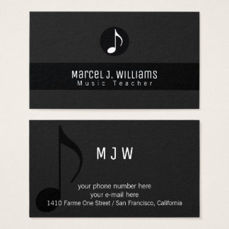 musician black business card with music note