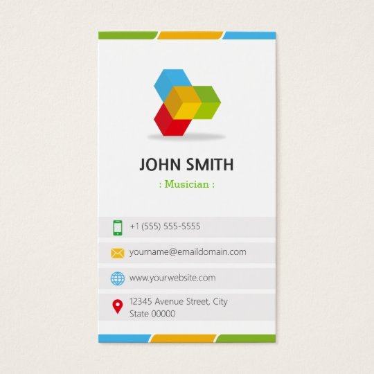 Musician - Colourful with QR Code Business Card