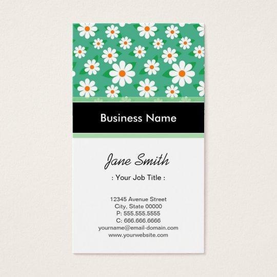 Musician Elegant Green Daisy Pattern Business Card
