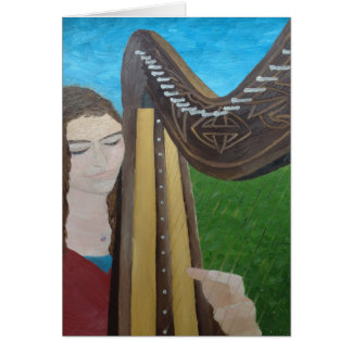 Musician greetings card - harp player perfection!