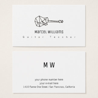 musician white business card with a guitar