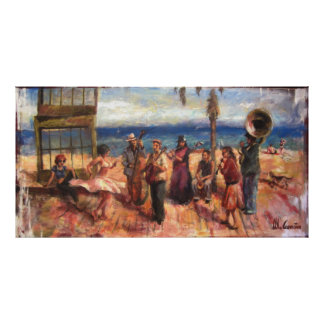 Musicians in Barcelona's beach Poster