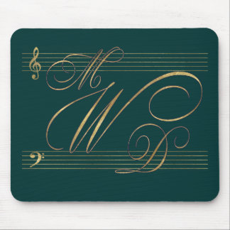 Musicians in love wedding monogram logo mouse pad