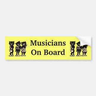 Musicians on Board Vintage Black Cats Bumper Sticker