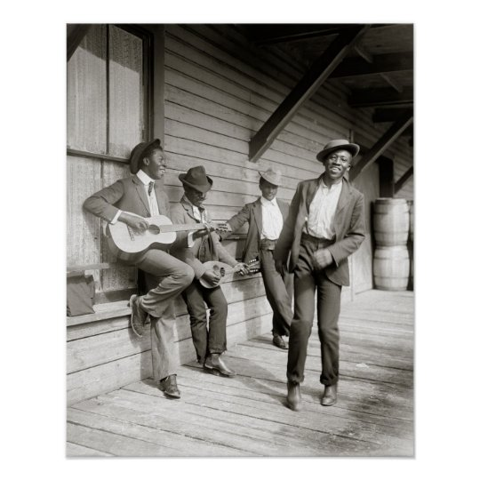 Musicians on the Road, 1908. Vintage Photo Poster
