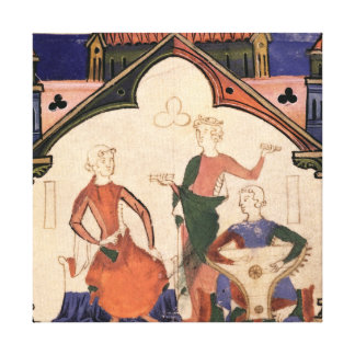 Musicians playing castanets and a psaltery canvas print