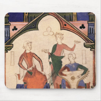 Musicians playing castanets and a psaltery mouse mat