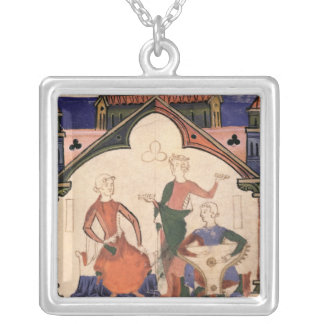 Musicians playing castanets and a psaltery silver plated necklace