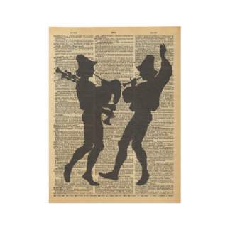 Musicians Silhouette on Vintage Dictionary Page Wood Poster