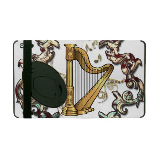 Musik, Harp mit dekorativen floral elements iPad Case