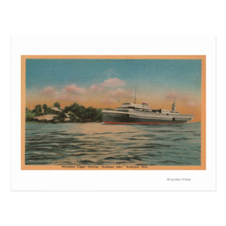 Muskegon, MI - View of Milwaukee Clipper Postcard