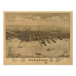 Muskegon Michigan 1874 Antique Panoramic Map Poster