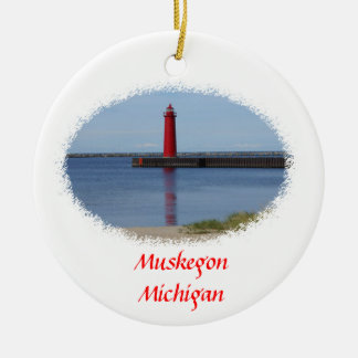 Muskegon Michigan Lighthouse Christmas Ornament