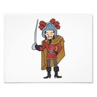 Musketeer Cape with Saber Cartoon Photo
