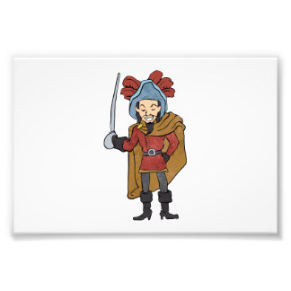 Musketeer Cape with Saber Cartoon Photograph
