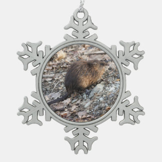 Muskrat Snowflake Pewter Christmas Ornament