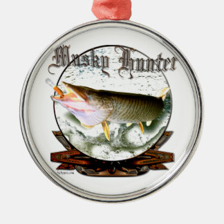 Musky hunter 1 Silver-Colored round decoration