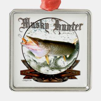 Musky hunter 1 Silver-Colored square decoration