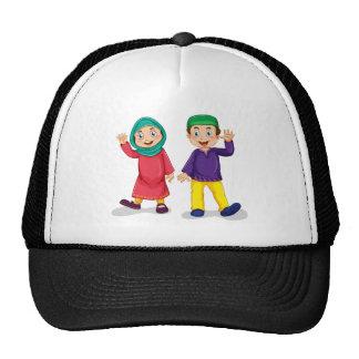 Muslim boy and girl trucker hat