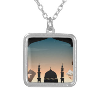 Muslim boy and girl reading books square pendant necklace