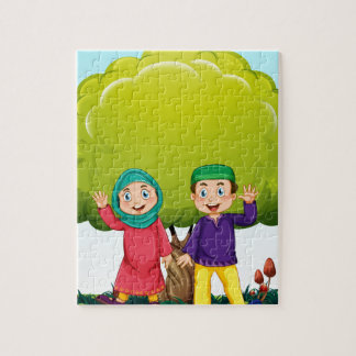 Muslim couple in the park jigsaw puzzles