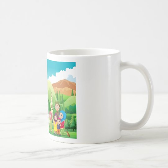 Muslim family at the mosque coffee mug