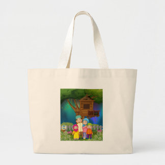 Muslim family in the garden at night jumbo tote bag