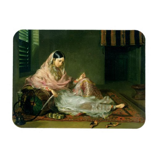 Muslim Lady Reclining, 1789 (oil on canvas) Flexible Magnet
