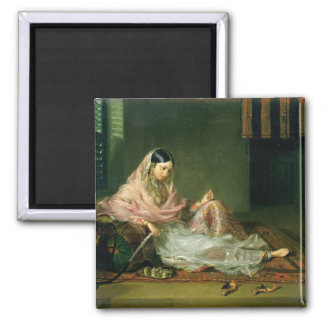 Muslim Lady Reclining, 1789 (oil on canvas) Square Magnet