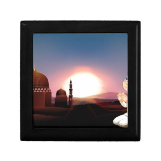 Muslim man praying at the mosque small square gift box