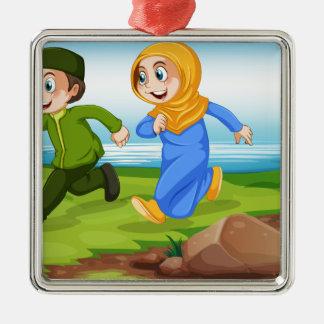 Muslims Silver-Colored Square Decoration