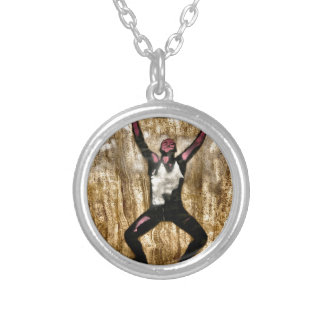 Musscleman Strongman Weightlifter Dumbbell Barbell Round Pendant Necklace