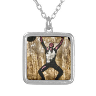Musscleman Strongman Weightlifter Dumbbell Barbell Square Pendant Necklace