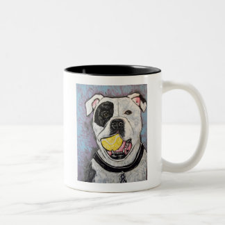 mussolini and the tennis ball Two-Tone mug