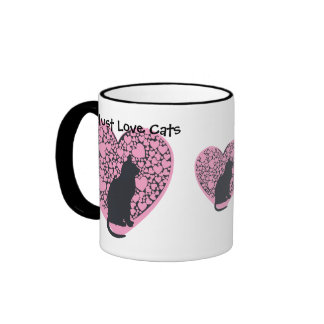 Must love cats, black cats, pink hearts ringer mug