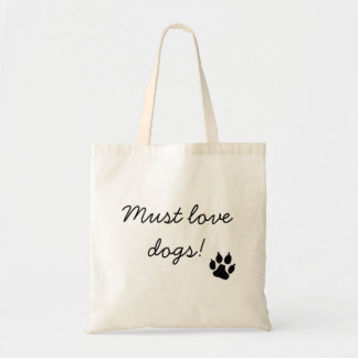 Must Love Dogs Black Paw Print Tote Bag
